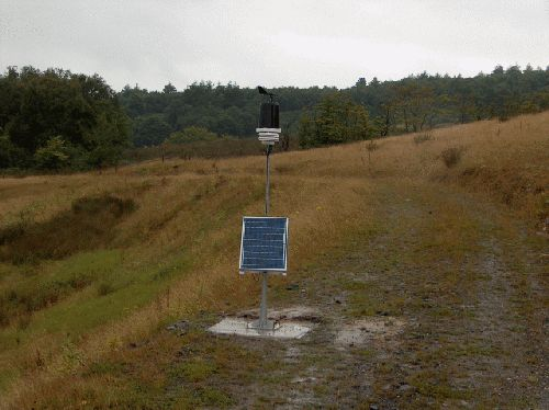 A solar powered Weather Station installed on a remote hillside
